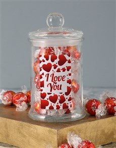 gifts: Love You Hearts Lindt Candy Jar!