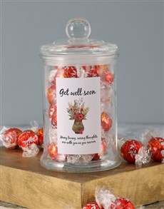 gifts: Floral Get Well Soon Lindt Candy Jar!