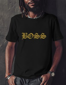 gifts: Boss Gold Foil Black T Shirt!