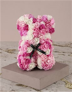 gifts: Pink and White Foam Rose Teddy in Case!