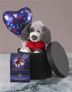 gifts: Puppy Love Chocolate Hatbox Hamper!
