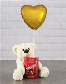 gifts: Cream Teddy And Gold Balloon Hamper !