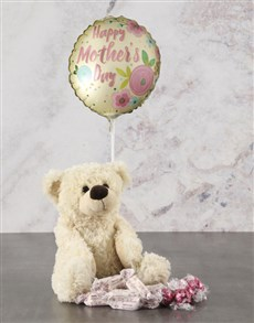 gifts: Mothers Day Cream Teddy And Balloon Hamper!
