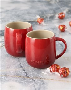 gifts: Cherry Le Creuset Mugs and Chocolate!