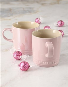 gifts: Pink Le Creuset Mugs and Chocolate!