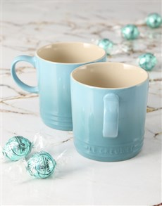 gifts: Caribbean Blue Le Creuset Mugs and Chocolate!