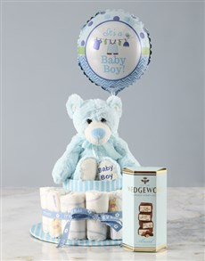 gifts: Plush Teddy and Balloon Nappy Cake Hamper!