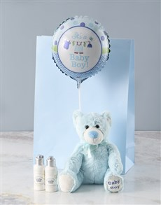 gifts: Blue Teddy Bear and Bath Time Gift!