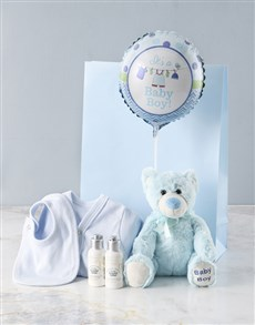 gifts: Blue Teddy Bear And Baby Clothing Gift !