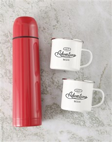 gifts: Let The Adventure Begin Flask And Mug Set!