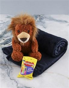 gifts: Denim Blue Blanket And Lion Hamper!