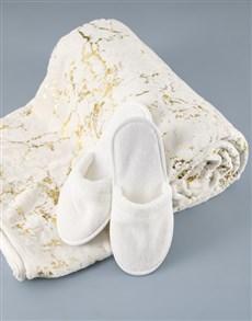 gifts: White Plush Throw And Slipper Set!