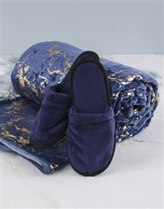 gifts: Navy Plush Throw And Slipper!