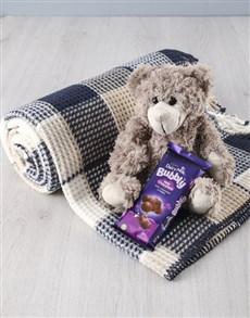 gifts: Cuddle Grey Teddy Blanket Set!