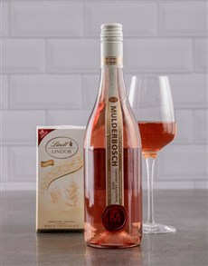 gifts: Mulderbosch Rose and Lindt White Chocolate!