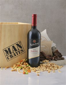 gifts: Red Wine Biltong & Nuts in a Man Crate Box!
