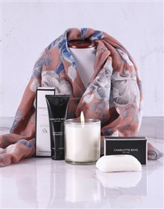 gifts: Charlotte Rhys Pamper Box And Pink Floral Scarf!