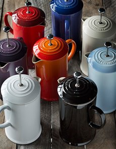 gifts: Le Creuset Coffee Pot with Metal Press!