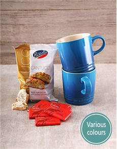 gifts: Set of Le Creuset Mugs With Cote D Or Chocs!