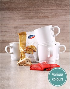 gifts: Four Le Creuset Mugs with Cote Dor Chocolates!