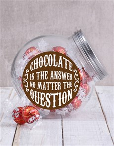 gifts: Chocolate Is The Answer Candy Jar!