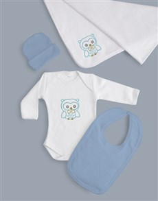 gifts: Baby Boy Five Piece Owl Gift!