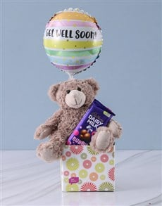 Get Well Teddy and Bubbly Box
