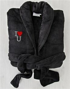 gifts: I Heart U Black Fleece Gown!