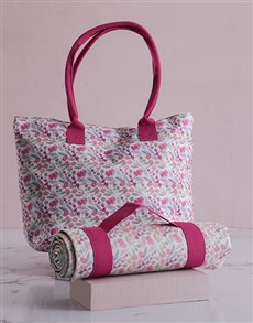 gifts: Pink Floral Tote Bag With Mat!