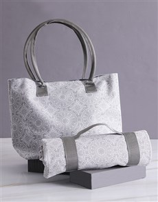 gifts: Grey Damask Bag With Mat!