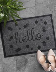 gifts: Hello Polka Dot Door Mat!