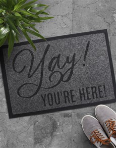 gifts: Yay Youre Here Doormat!