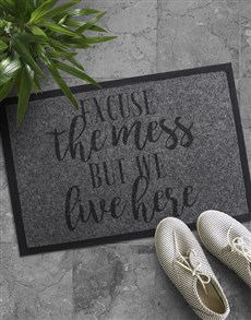 gifts: Excuse The Mess But We Live Here Doormat!