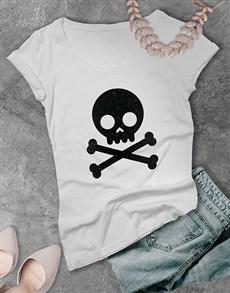 gifts: Black Glitter Skull Ladies T Shirt !