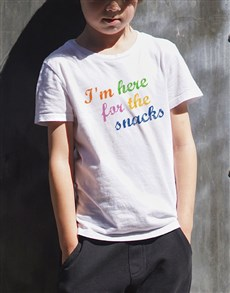 gifts: Here For The Snacks Kids T Shirt!