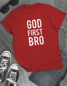 gifts: God First Bro Christian Shirt!