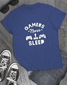gifts: Gamers Never Sleep Tshirt!