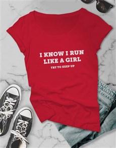 gifts: Run Like A Girl Ladies T Shirt!