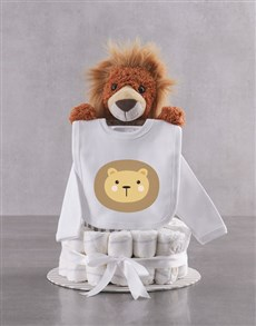 gifts: Lion And Clothing Nappy Cake!