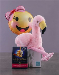 gifts: Fluffy Flamingo In Box With Balloon!