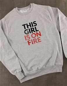 gifts: This Girl Is On Fire Ladies Sweatshirt!