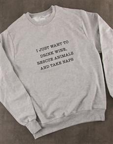 gifts: Just Want To Drink Wine Ladies Sweatshirt!