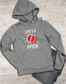 gifts: Lifes A Pitch Cricket Hoodie!