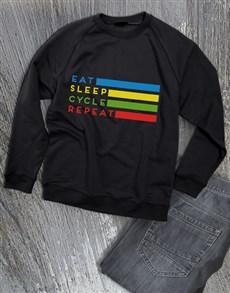 gifts: Eat Sleep Cycle Repeat Sweatshirt!