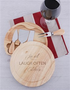 gifts: Laugh Often Cheese Board Set!
