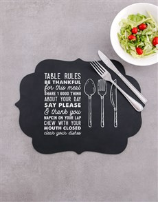 gifts: Table Rules Chalk Board Placemat!