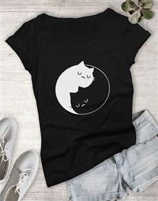 gifts: Yin And Yang Cats Ladies T Shirt!