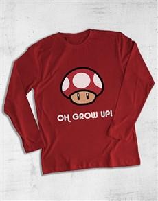 gifts: Grow Up Mushroom Gaming Long Sleeve T Shirt!