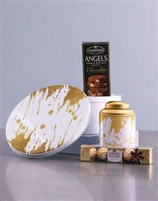 gifts: Gold Paint Tea Tin Hamper!