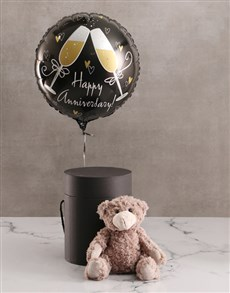gifts: Anniversary Balloon With Teddy Bear In Hat Box!